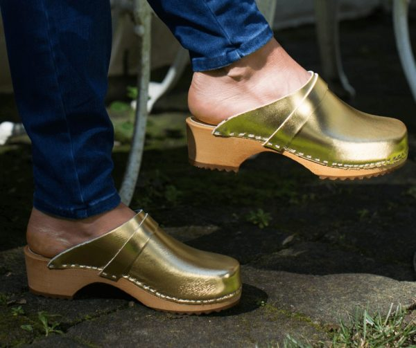 swedish clogs australia shoes mules gold leather wooden handmade love of clogs sale buy online